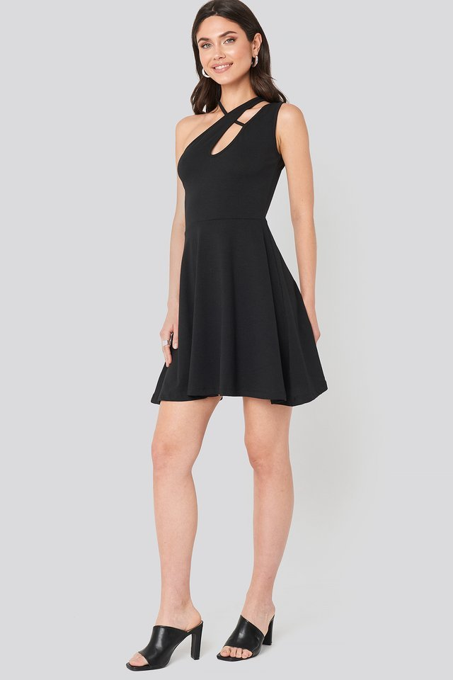 Strap Detail Mini Dress Black.