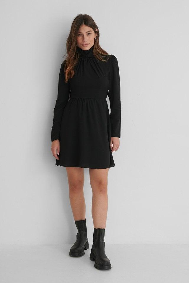 Stand Collar Mini Dress Black.