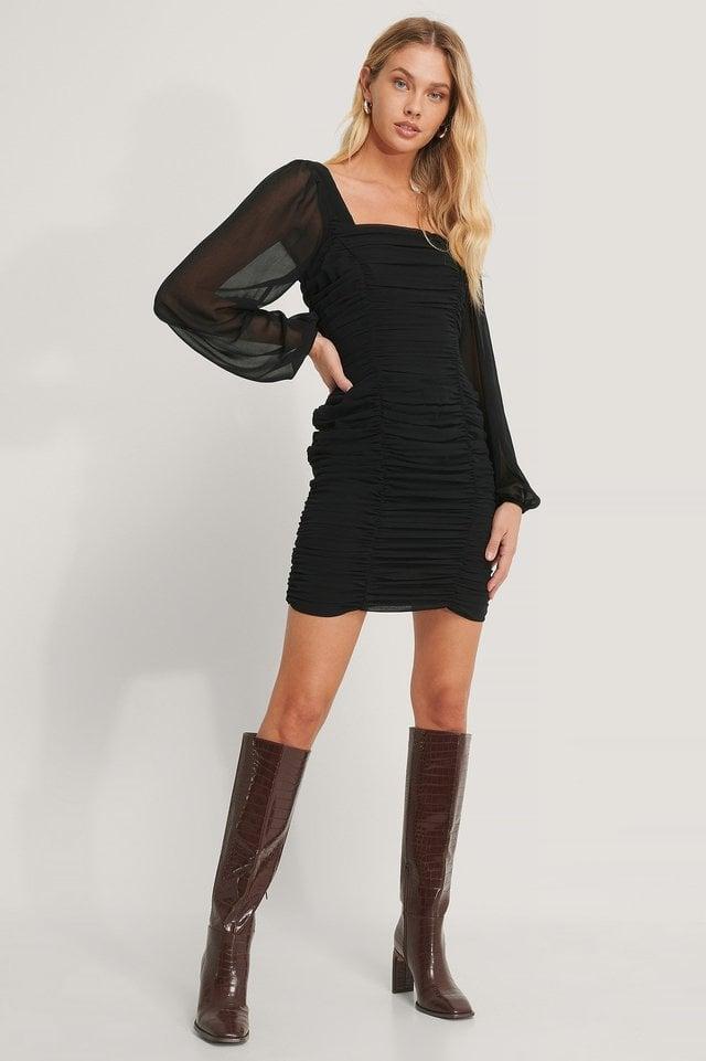 Square Neck Gathered Chiffon Dress Black.