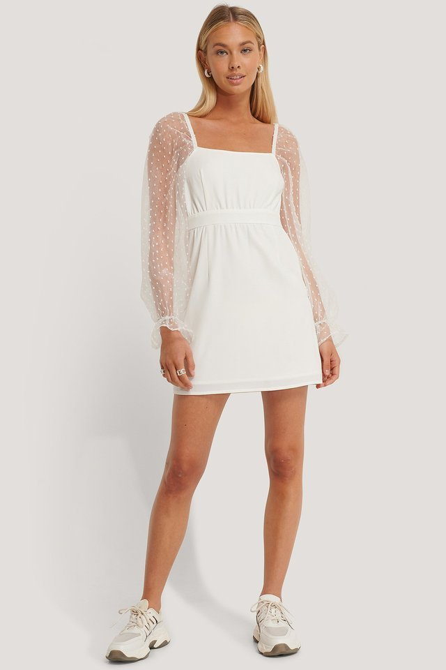 Square Neck Chiffon Mini Dress White.