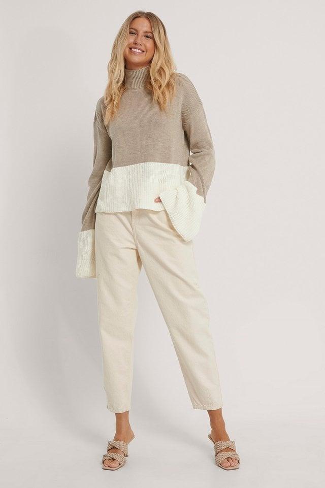 Beige/White Jersey De Punto De Dos Colores