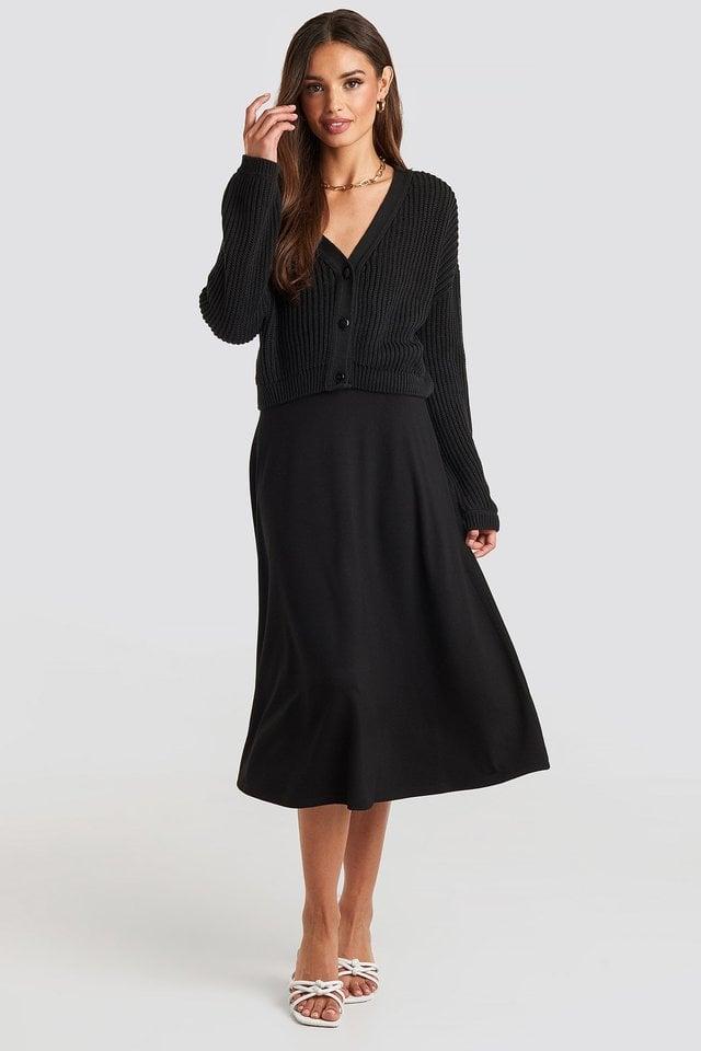Black Volume Sleeve Cardigan