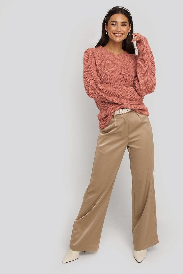Burgundy Wide Band V-Neck Ribbed Sweater