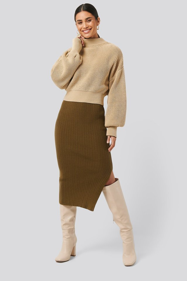 Wide Rib Balloon Sleeve Sweater Outfit.