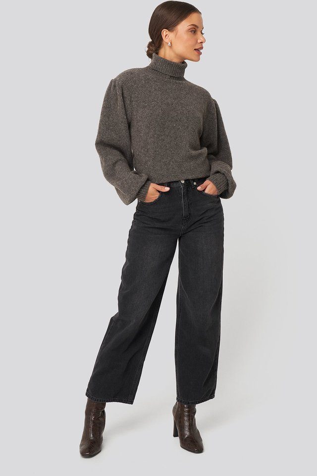 Wool Blend Knitted Polo Neck Sweater Outfit.