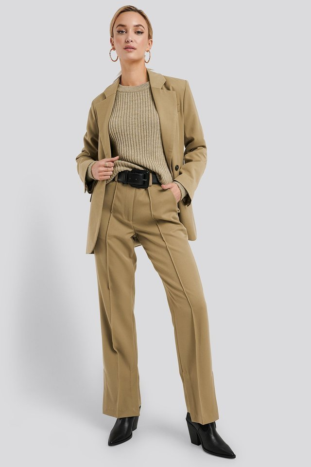 Wool Blend Ribbed Knitted Sweater Outfit.
