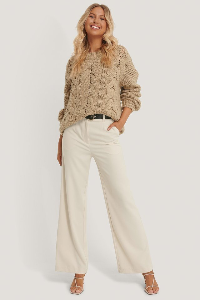 Wool Blend Round Neck Heavy Knitted Cable Sweater Outfit.