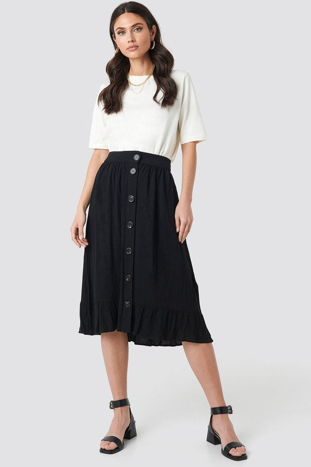 Frill Hem Front Button Skirt Outfit.