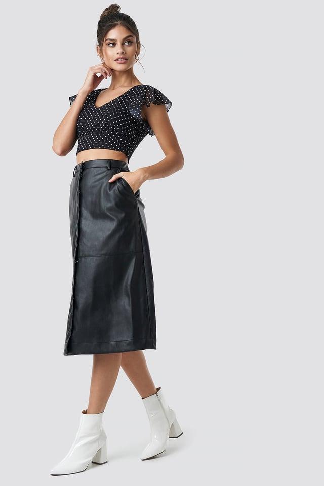 PU Midi Skirt Outfit.