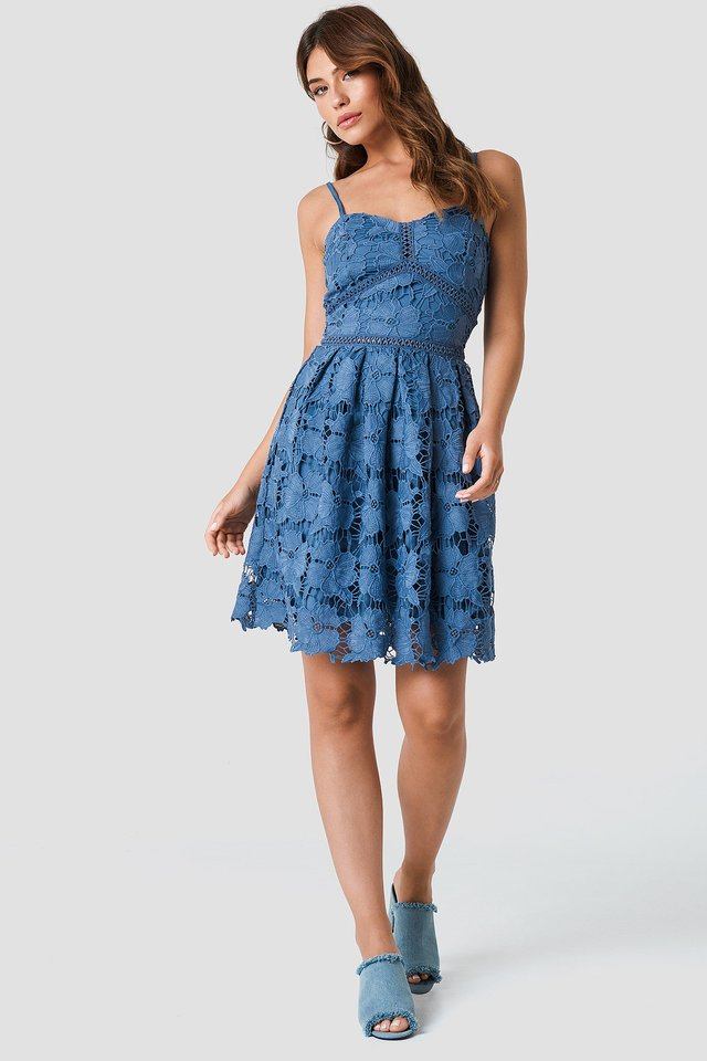The Cute Lace Strap Dress and Denim Slip-Ins Look