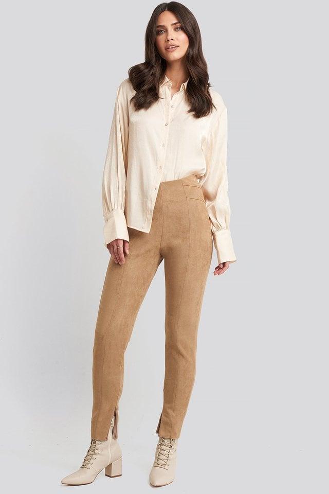 Faux Suede Zip Detail Pants Outfit.