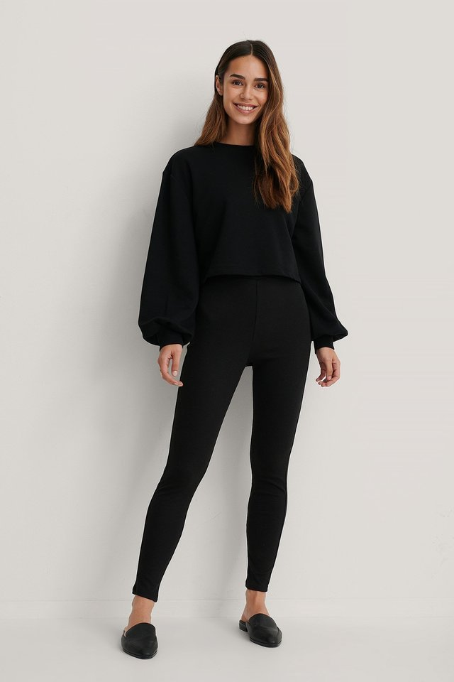 Soft Ribbed Highwaist Tights Outfit.