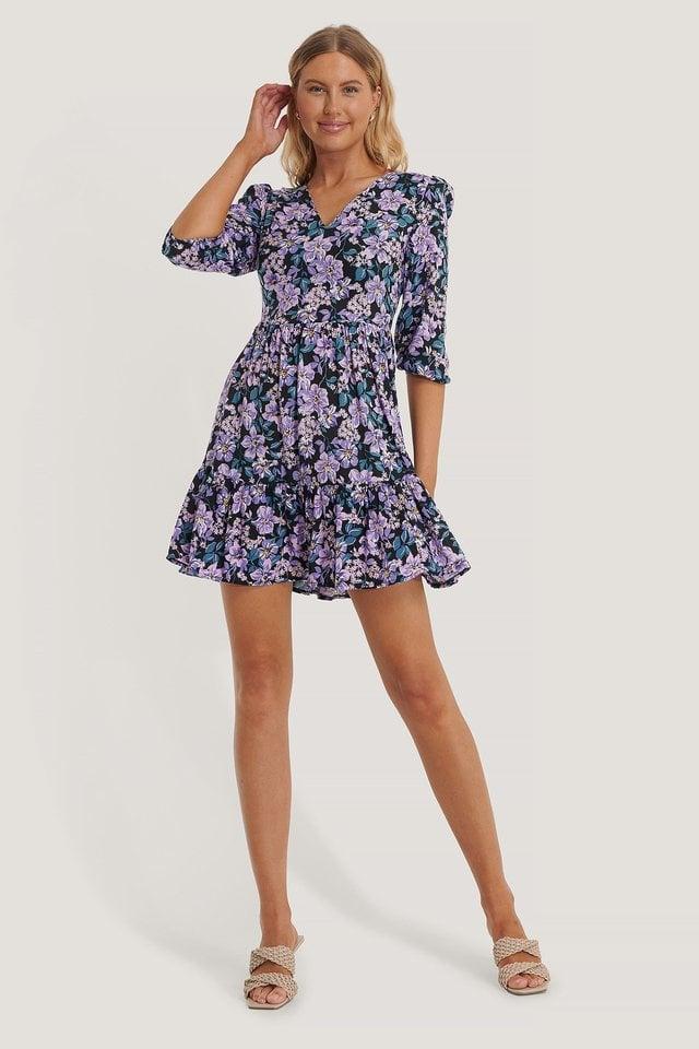 Color Floral Mini Dress Outfit.
