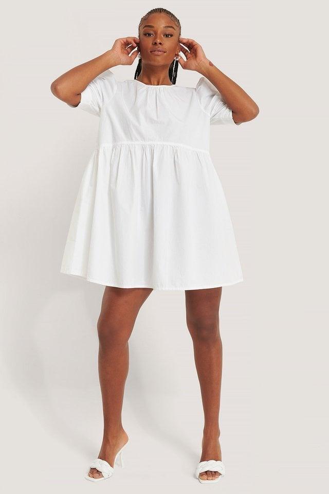White Katoenen Mini-Jurk Met Korte Mouwen