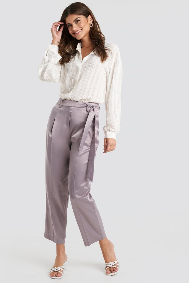 Belt Satin Trousers Outfit.
