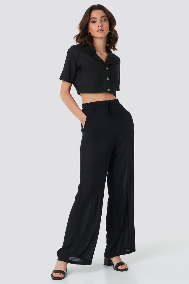 Black Binding Wide Pants