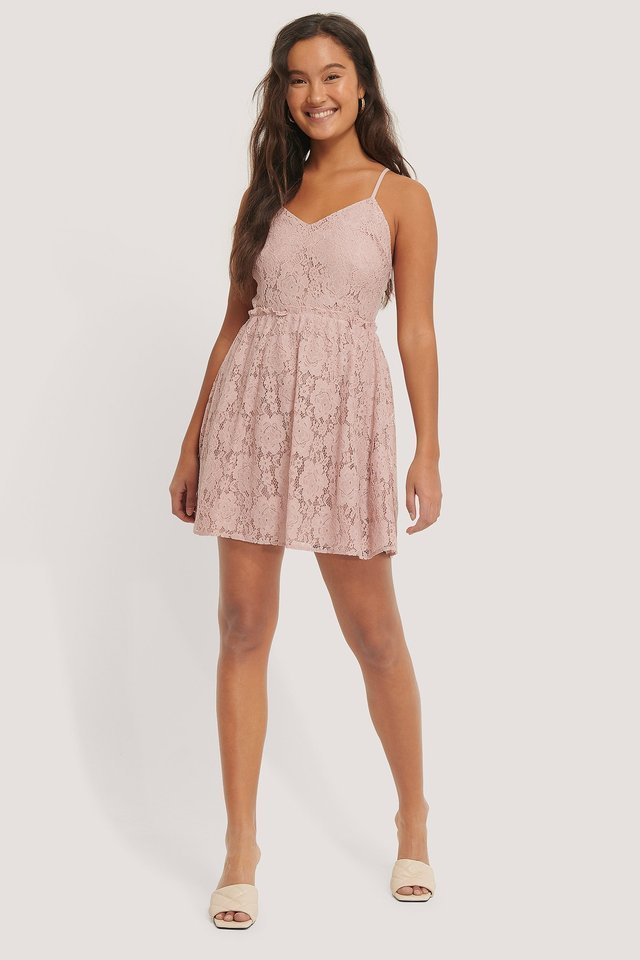 Cross Back Lace Dress Outfit.