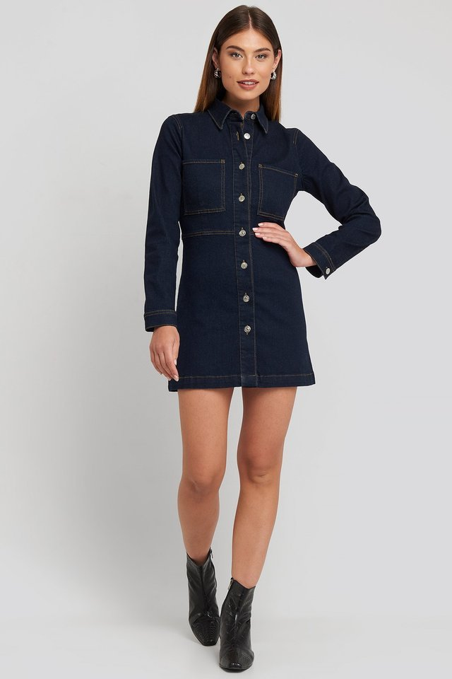 Indigo Blue Denim Shirt Mini Dress