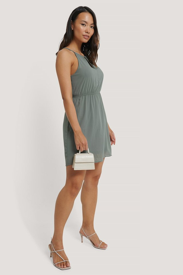Halterneck Chiffon Mini Dress Outfit.