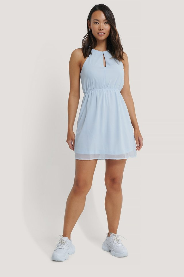 Halterneck Chiffon Mini Dress Outfit.