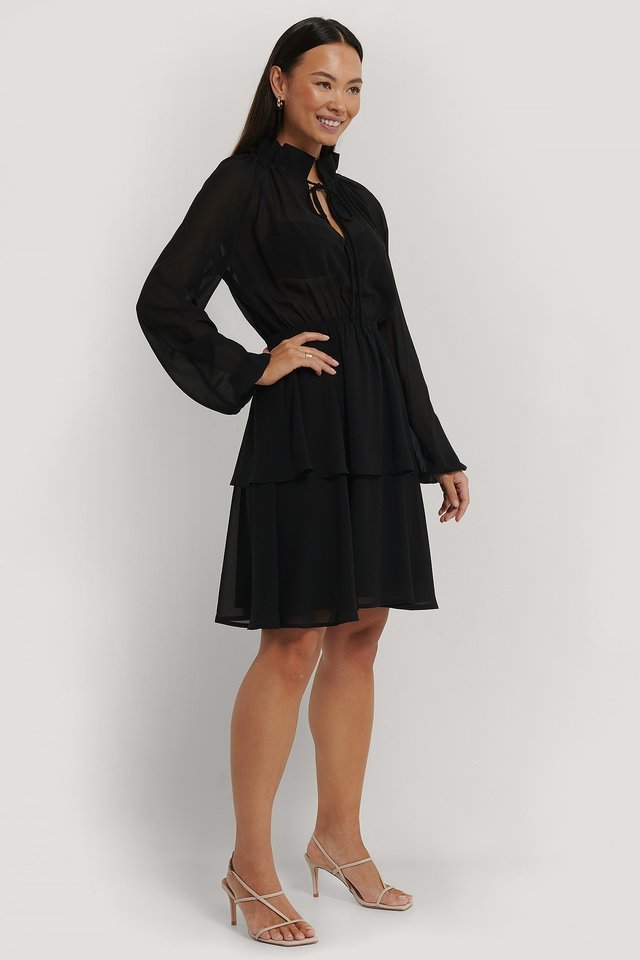 High Frill Neck Dress Outfit.