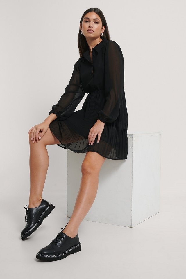Black Pleated LS Shirt Mini Dress