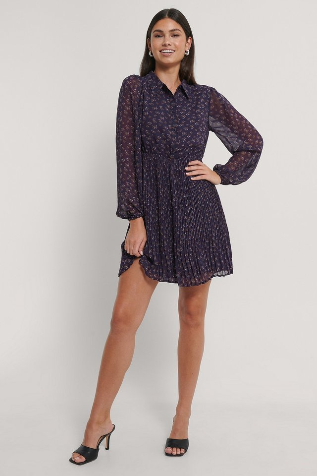 Pleated LS Shirt Mini Dress Outfit.