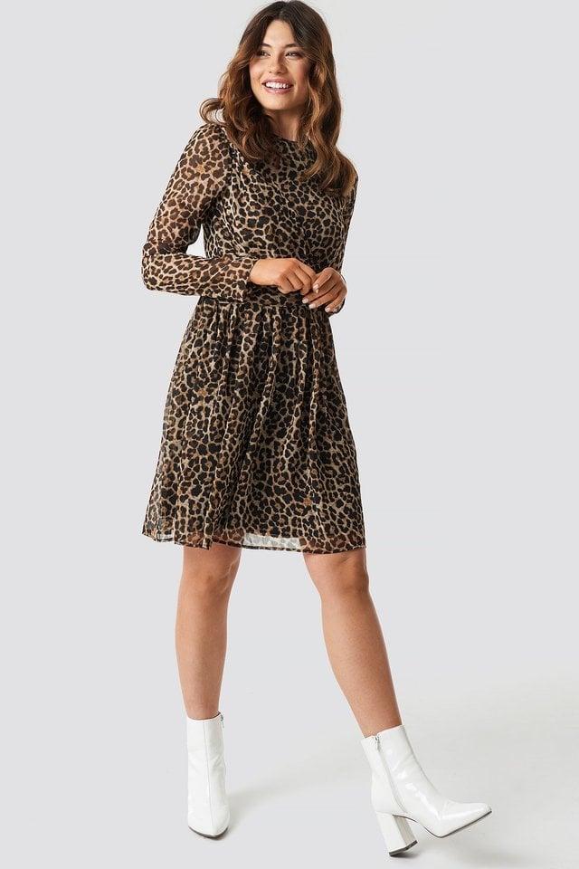Draped Detail Chiffon Mini Dress Outfit.