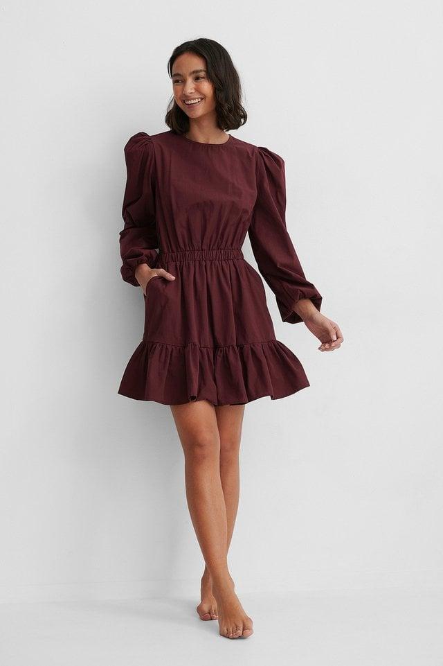 Elastic Waist Long Sleeve Floral Dress Outfit.
