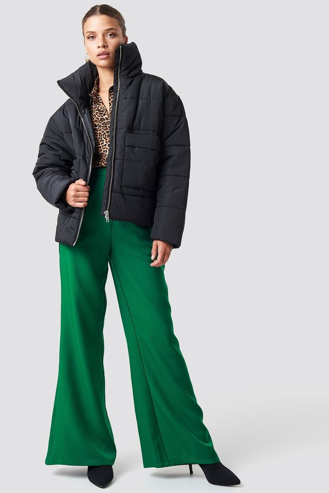 Padded Jacket And Long Trousers Outfit