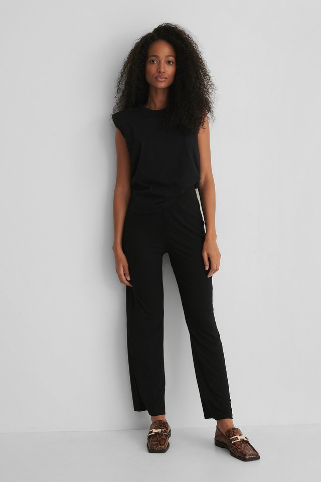 Ribbed Straight Pants Outfit.
