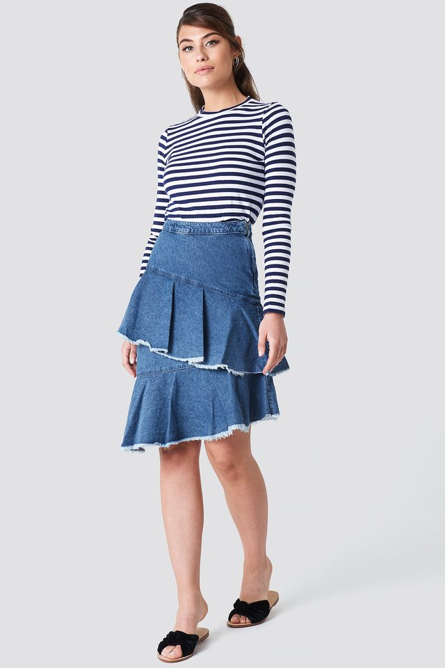Flounce Denim Skirt Outfit.