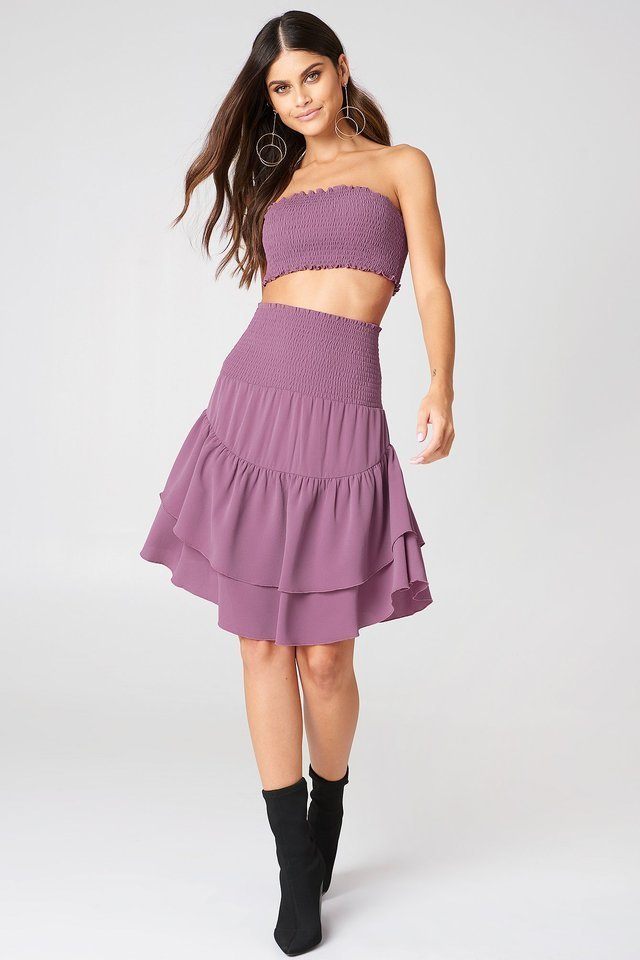 Shirred Part Flounce Skirt Outfit.