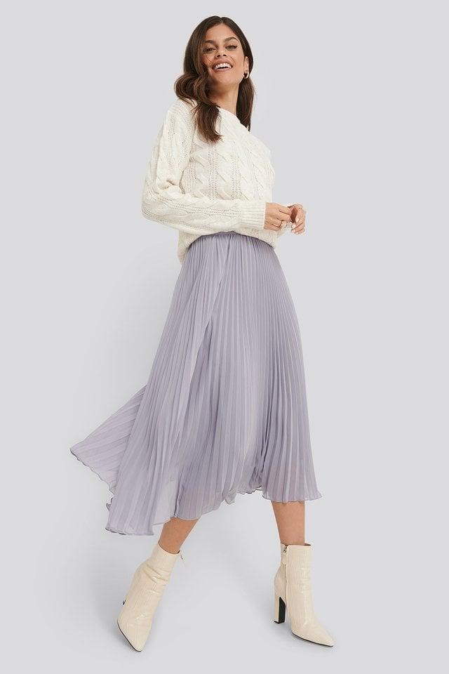 Purple Ankle Length Pleated Skirt