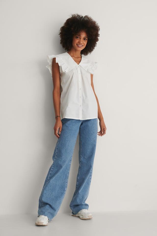 Wide Collar Cotton Blouse