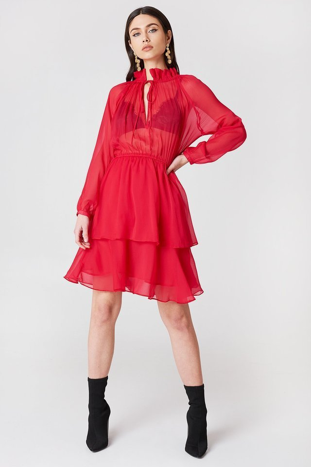 Red Heart Shape Frill Dress