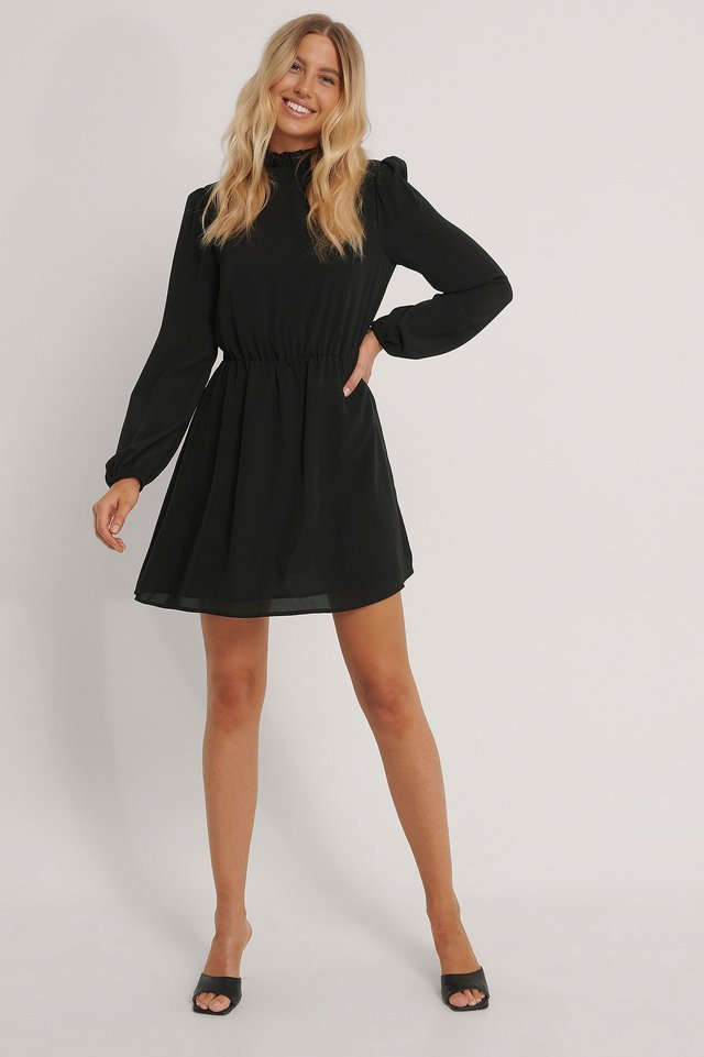 High Neck Elastic Waist Mini Dress Outfit.