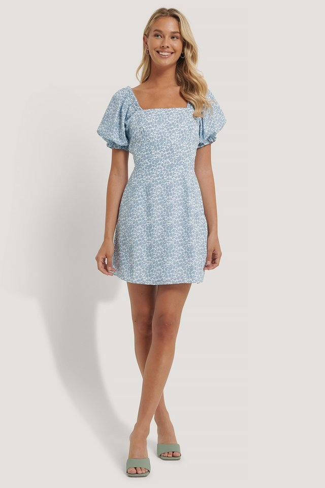 Flounce Puff Sleeve Dress Outfit.