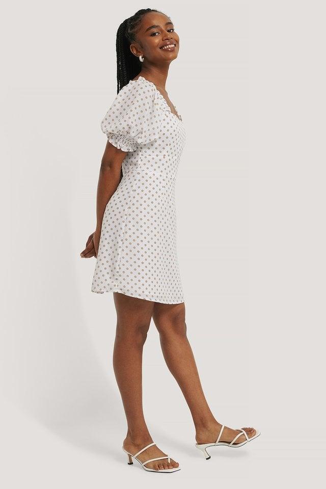 White/Beige Flounce Puff Sleeve Dress