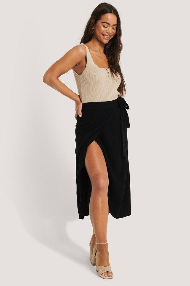 Linen Blend Overlap Midi Skirt Outfit.