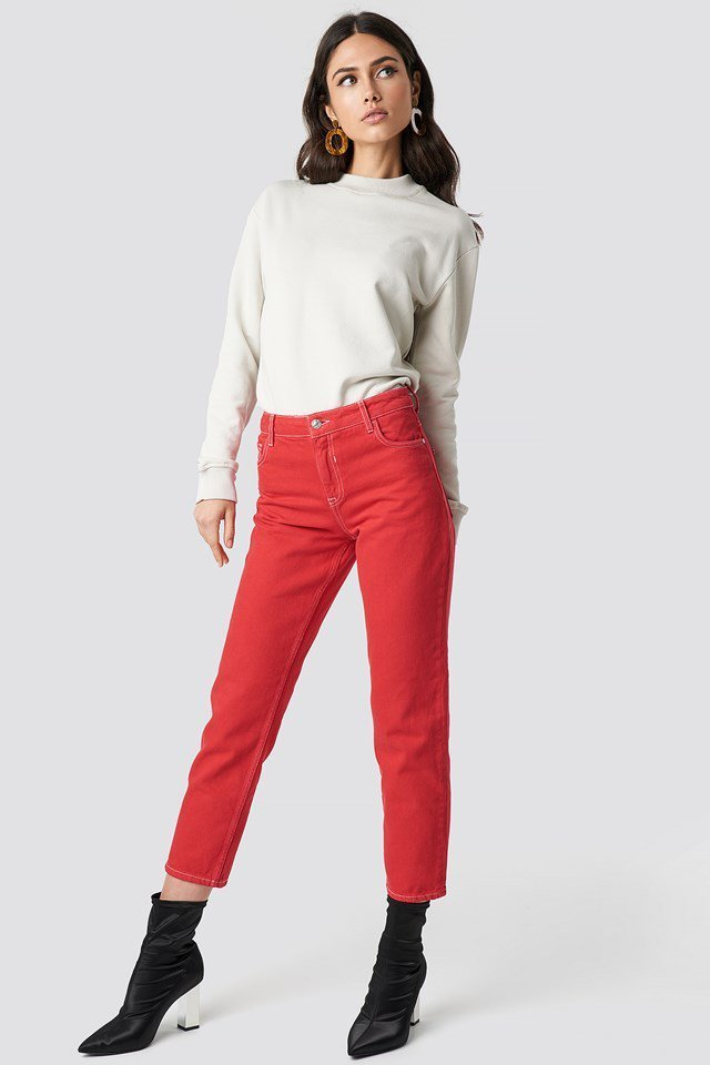 Hot Red Pant and Sweater Outfit