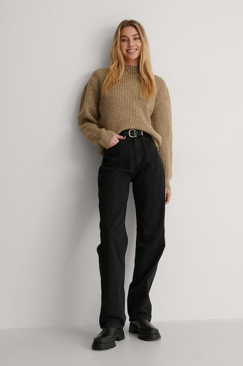High Neck Ribbed Knitted Sweater