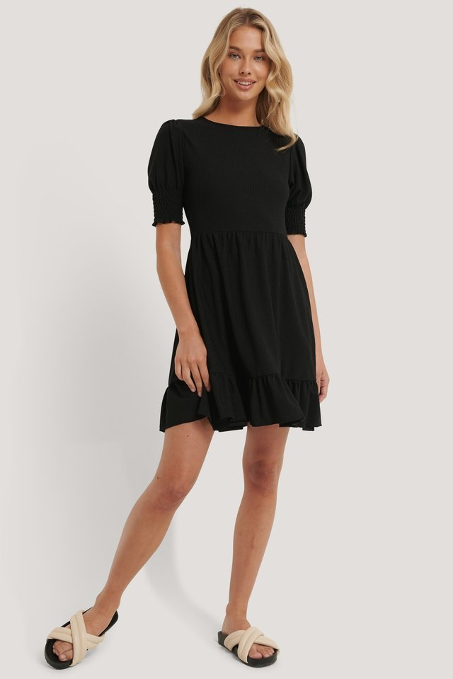 Smock Sleeve Frill Dress Black.