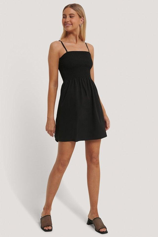 Smocked Strap Dress Black.