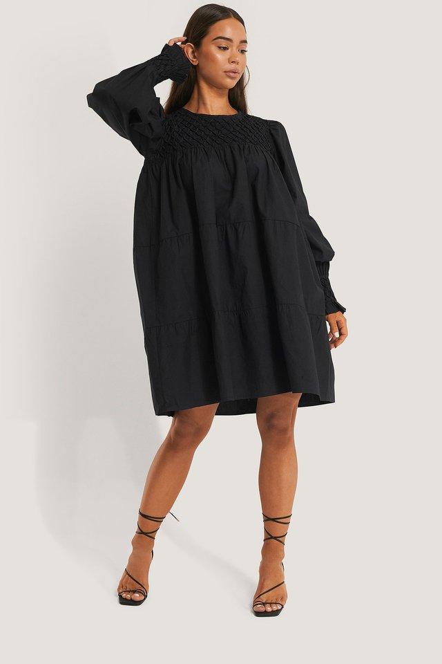 Smocked Poplin Dress Black.