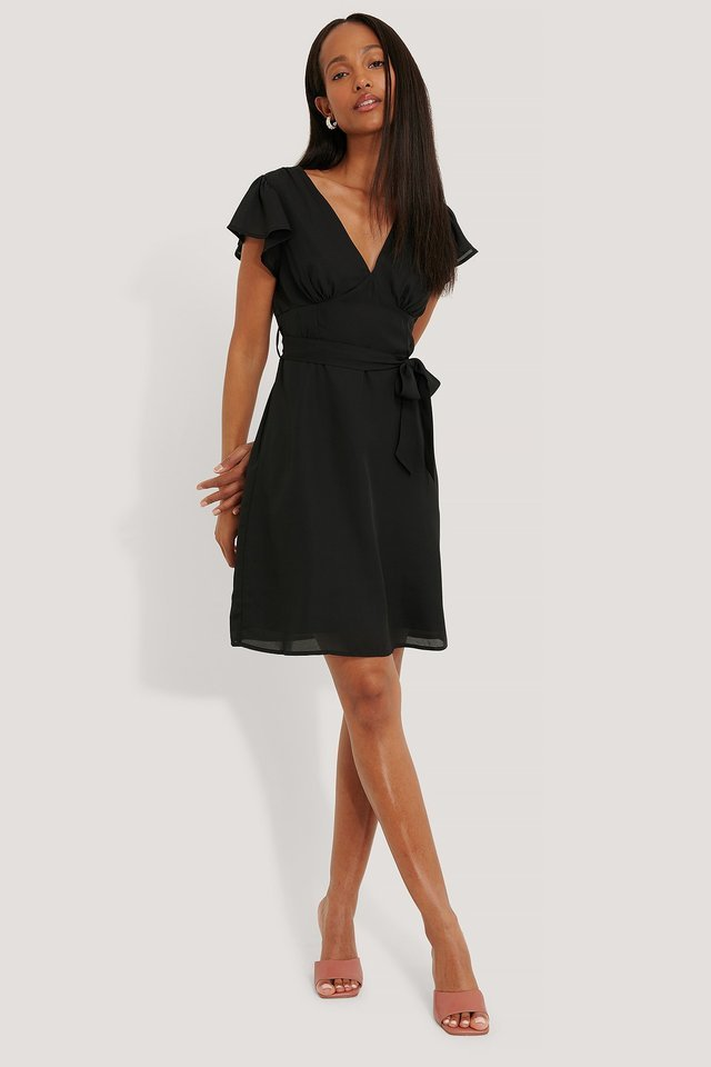 Smocked Back Flounce Dress Black.