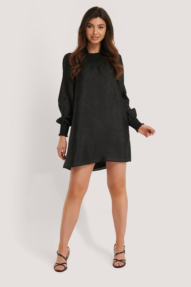 Smocked Detail Organza Dress Black.