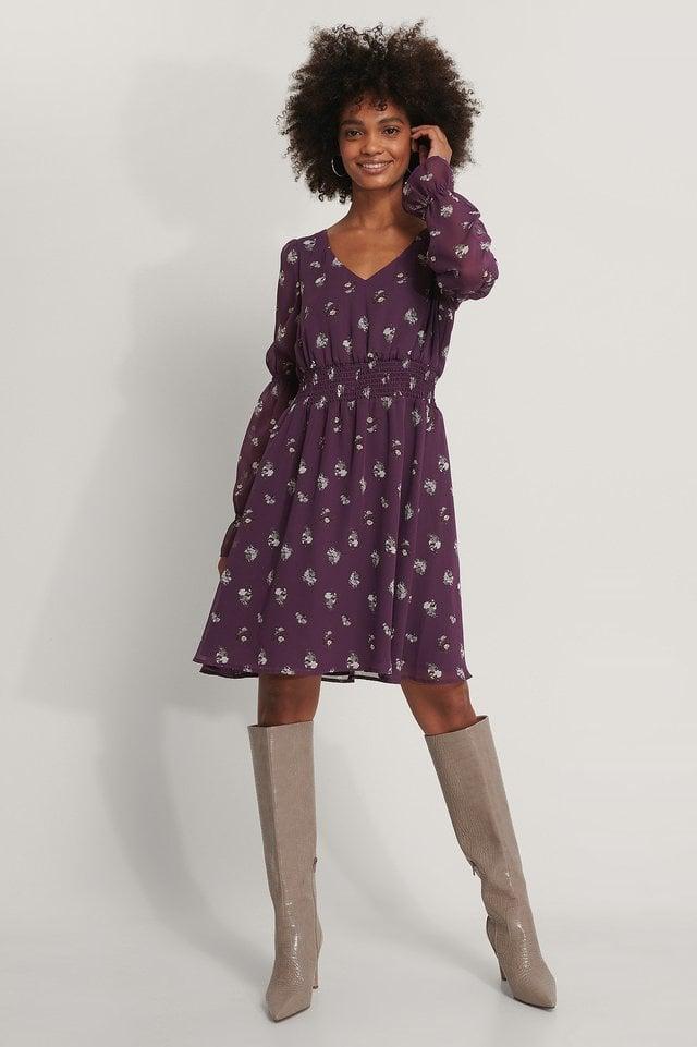 Smocked Detail Chiffon Dress Purple.