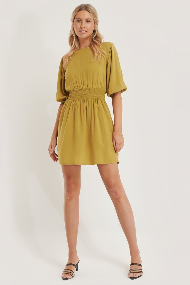 Smock Detail 3/4 Sleeve Dress Yellow.
