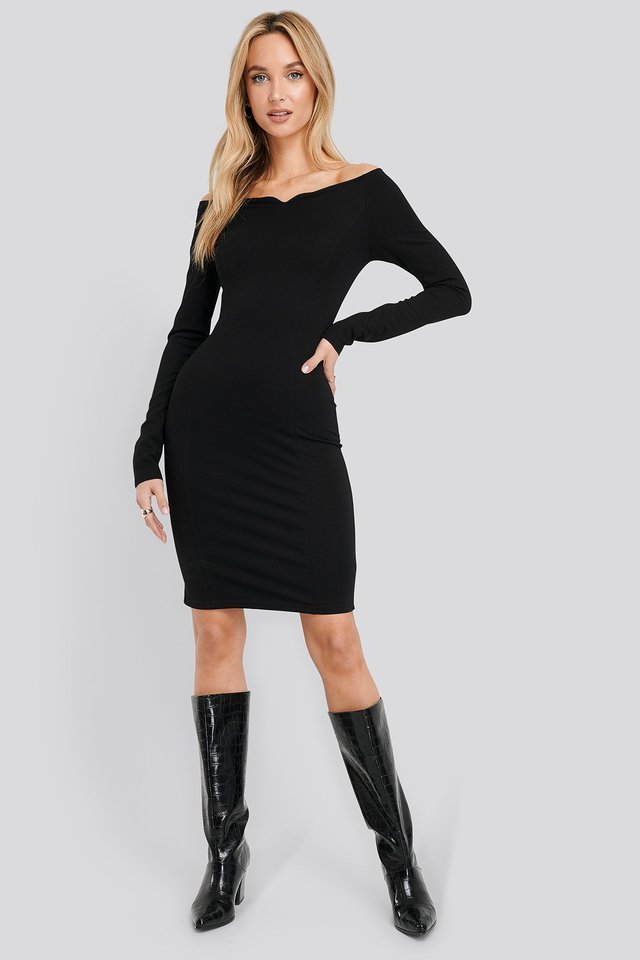 Slip Shoulder Bodycon Dress Black Outfit.
